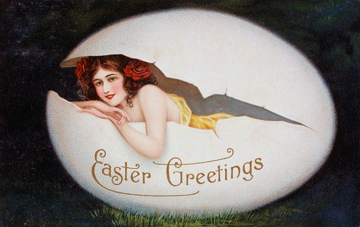 Easter Greetings Nostalgia Cards : Stock Photo