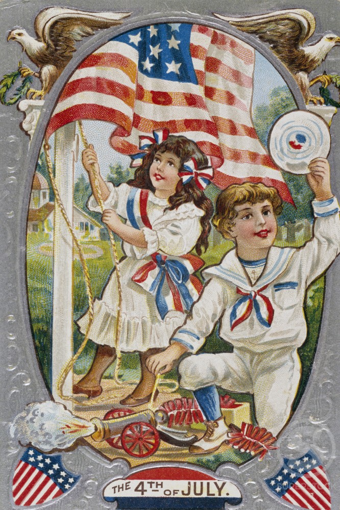 Stock Photo: 980-1059 Fourth of July, color lithograph, Nostalgia Cards