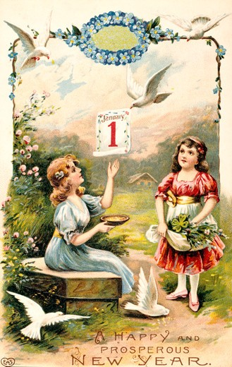 Happy and Prosperous New Year, Nostalgia Cards, 1900 : Stock Photo
