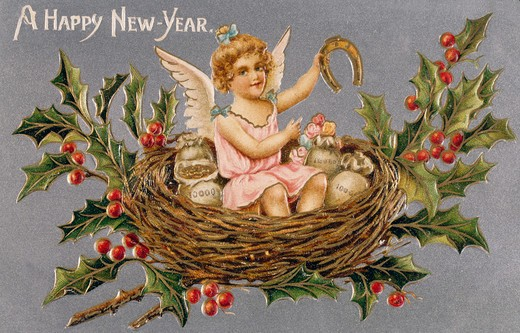 Happy New Year, Nostalgia Cards, 1900 : Stock Photo