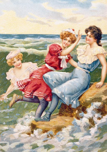 Women at Beach, Nostalgia Cards : Stock Photo