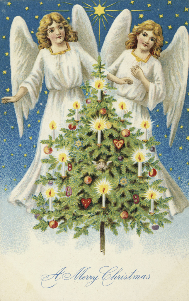 Stock Photo: 980-1120 Merry Christmas: Two Angels With Christmas Tree