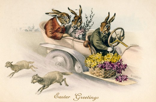 Stock Photo: 980-1134 Easter Rabbits, Nostalgia Cards