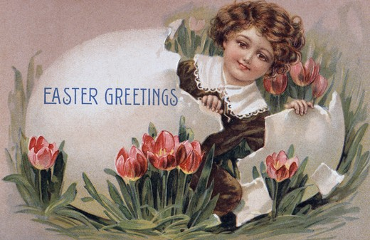 Stock Photo: 980-1135 Easter Greetings Nostalgia Cards