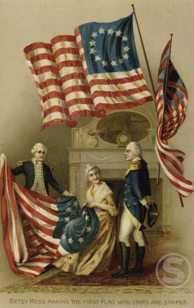 Stock Photo: 980-1138 Sewing the Flag