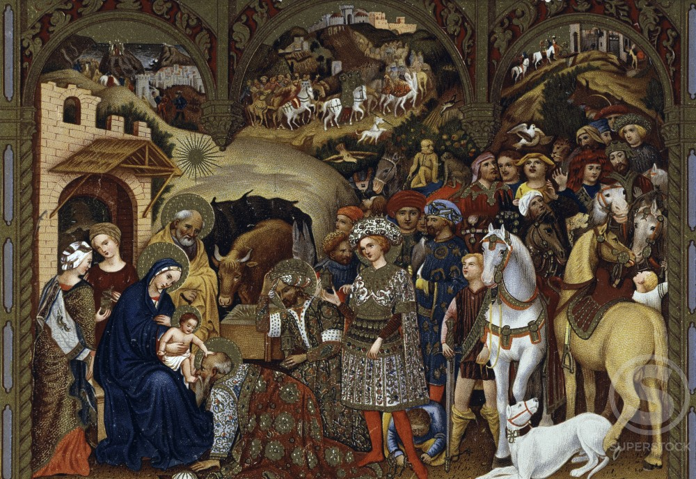 Adoration of the Kings  After an original work by Francesco di Gentile da Fabriano  Color lithograph  : Stock Photo