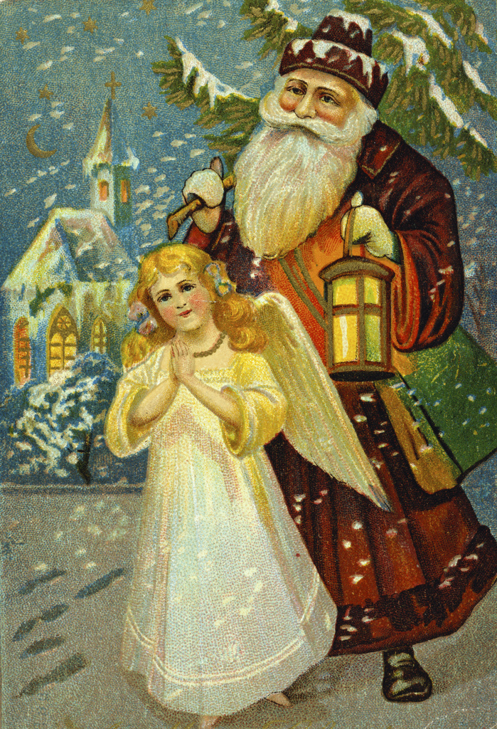 Stock Photo: 980-1167 Santa with Angel   Nostalgia Cards