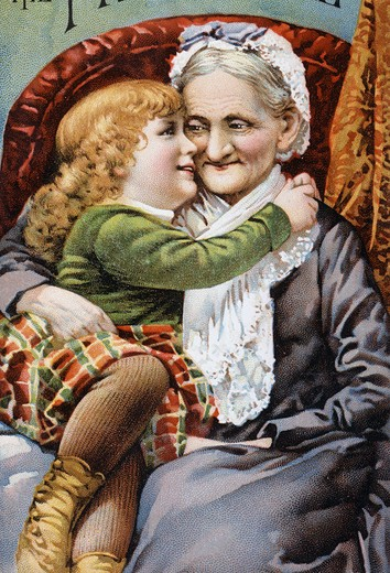 Stock Photo: 980-1203 Child and Grandmother Nostalgia Cards Color Lithograph