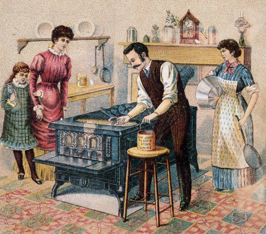 Stock Photo: 980-1207 Family in Kitchen Nostalgia Cards