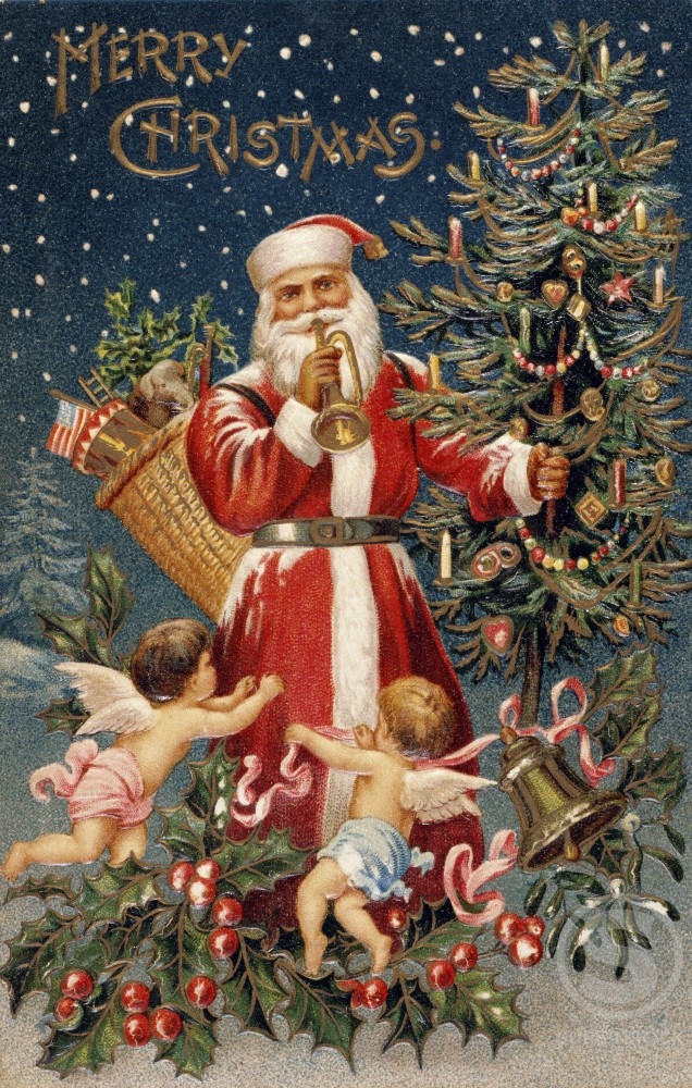 Stock Photo: 980-1211 Merry Christmas: Santa with Cherubs & Trumpet
