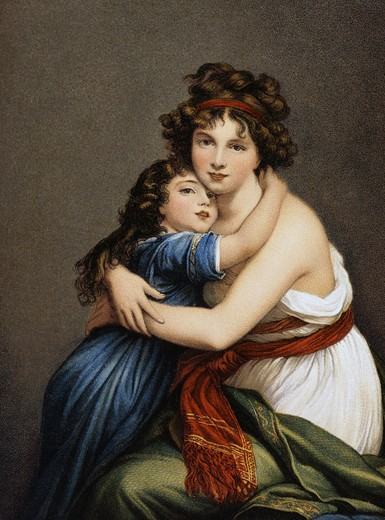 Stock Photo: 980-1223 Mother & Daughter After a Painting by Elisabeth Vigee-LeBrun Nostalgia Cards