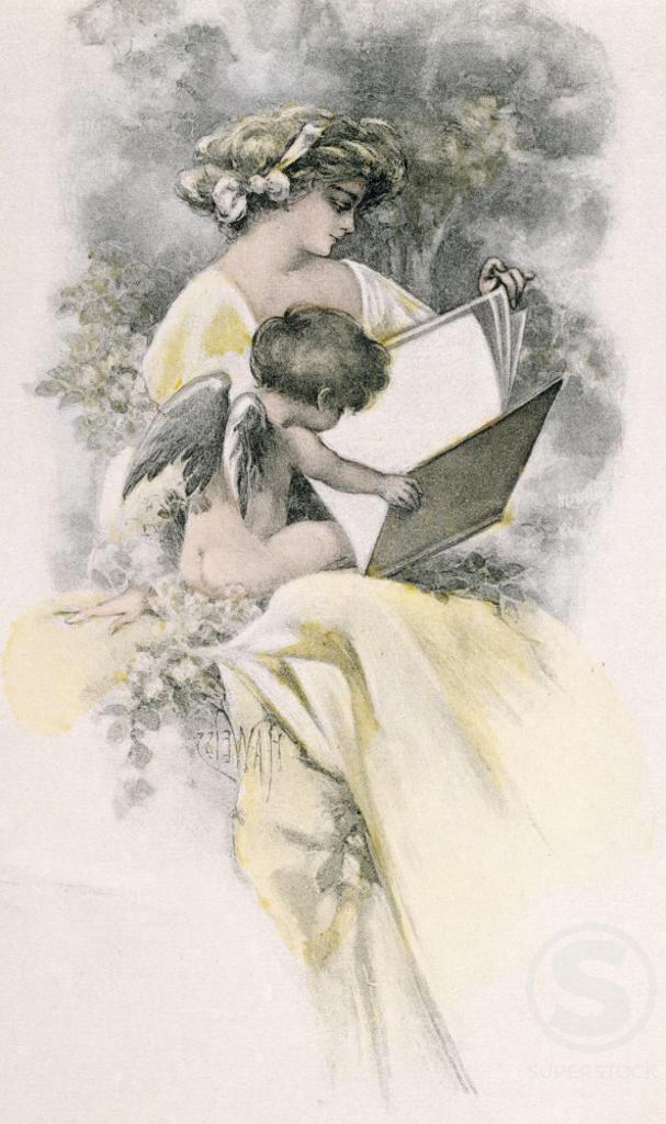 Stock Photo: 980-1326 Angel Reading, nostalgia cards