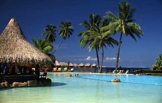 Stock Photo: 99-10606 Tourist resort on the beach, Tahiti, French Polynesia