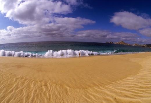 Surf on the beach, Medano Beach, Cabo San Lucas, Baja California, Mexico : Stock Photo
