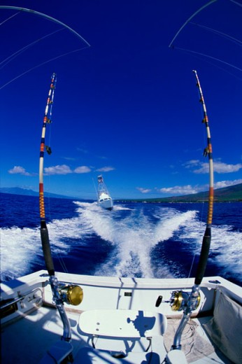 Stock Photo: 99-1648 Fishing roads on a fishing boat, Maui, Hawaii, USA