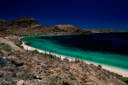 High angle view of a beach, Coyote Bay, Conception Bay, Baja California Sur, Mexico : Stock Photo