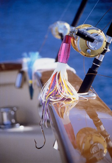 Close-up of an artificial lure on the reel of a fishing rod, Cabo San Lucas, Baja California, Mexico : Stock Photo