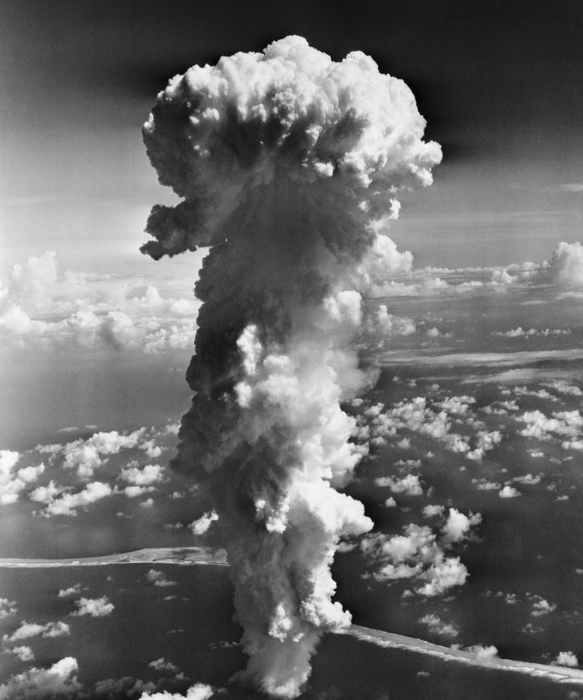 Clouds formed by an atomic explosion : Stock Photo