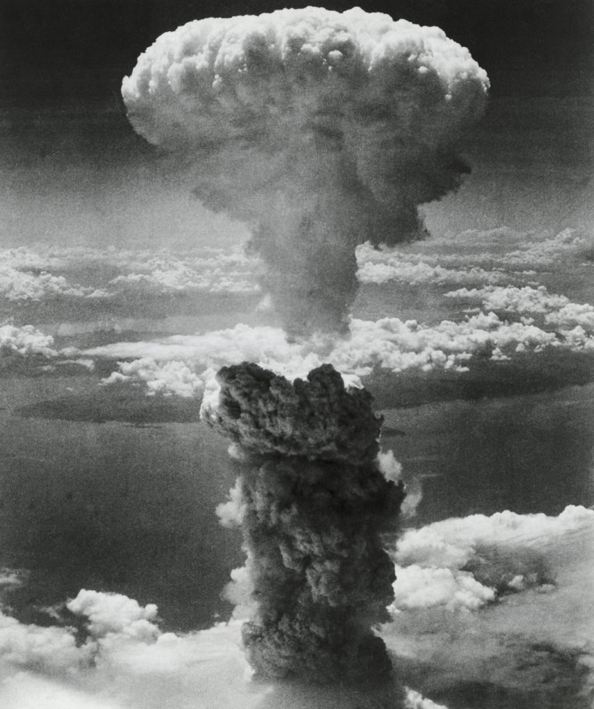 Stock Photo: 990-1146 Mushroom cloud formed by atomic bomb explosion, Nagasaki, Japan, August 9, 1945