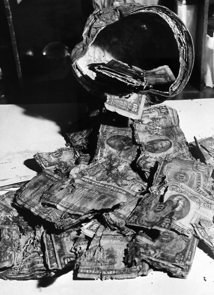 Stock Photo: 990-118141 Damaged dollar bills at the Currency Redemption Center, US Treasury Department