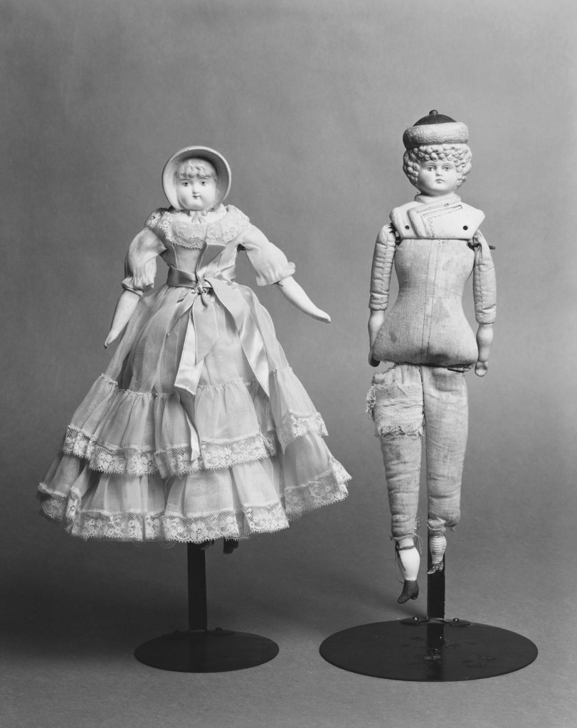 Close-up of antique dolls, Bisque Dolls, c.1880 : Stock Photo