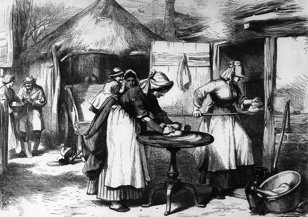 Stock Photo: 990-2014 Cottage Life in Warwickshire, Baking Days, 1872