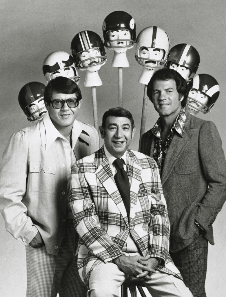 Stock Photo: 990-2226 Alex Karras, Howard Cosell and Frank Gifford Sportscasters of Monday Night Football c.1974