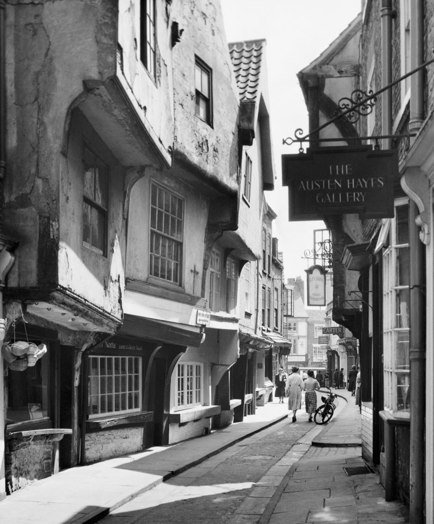 Buildings along a street, The Shambles, York, England : Stock Photo