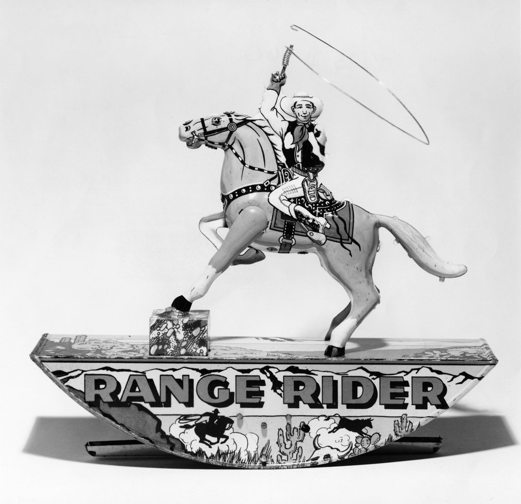 Stock Photo: 990-2606 Close-up of a Range Rider toy, 1930