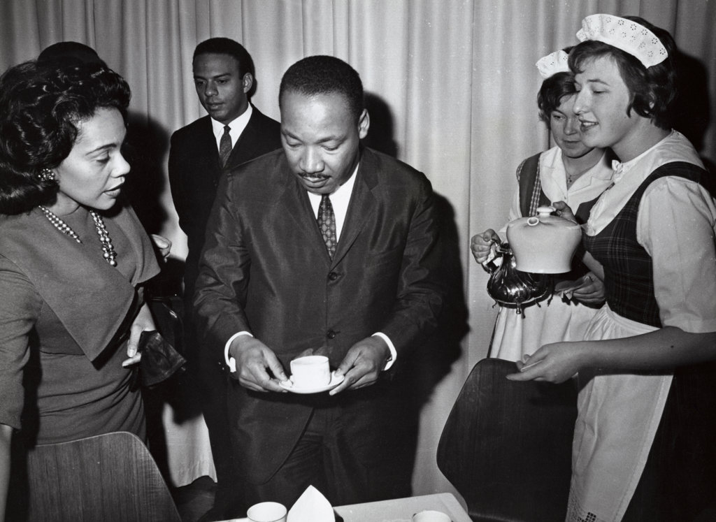 Coretta Scott King, Andrew Young, and Dr. Martin Luther King, Jr., Nobel Peace Prize Ceremonies, Oslo, Norway, December 10, 1964 : Stock Photo
