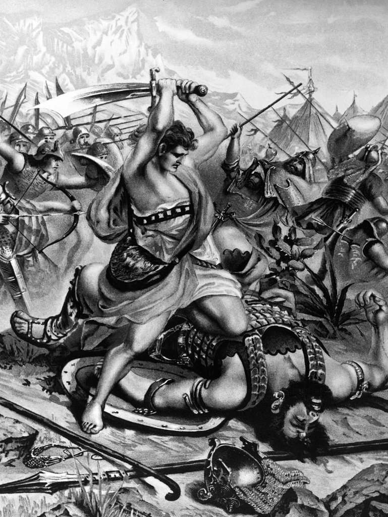 David Slayeth Goliath by W. Ebbinghaus, print, 19th century : Stock Photo