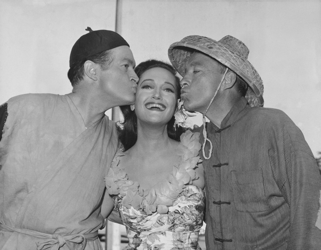 "Stock Photo: 990-2894 Bob Hope, Dorothy Lamour and Bing Crosby on the set for ""Road to Hong Kong"" 1961"