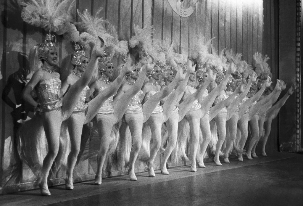 Stock Photo: 990-3051 Group of showgirls cancan dancing, Paris, France
