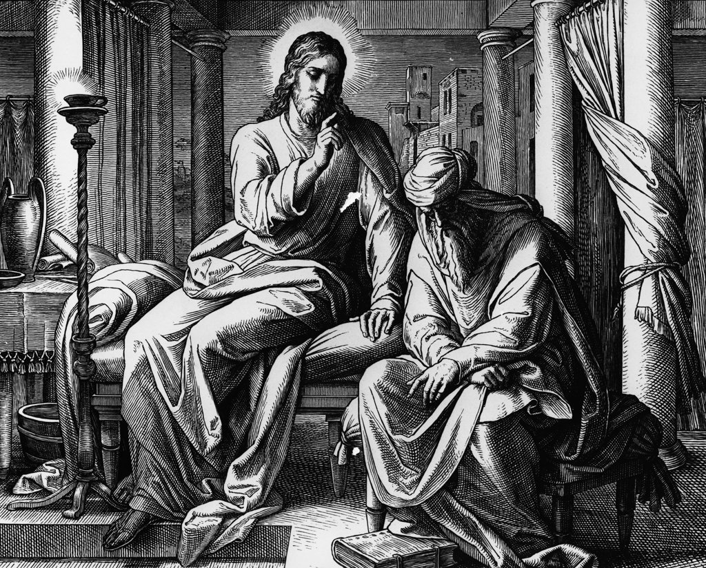 Stock Photo: 990-3518 Christ's Discussion with Nicodemus on Eternal Life by Julius Schnorr von Carolsfeld, print, 1794-1872