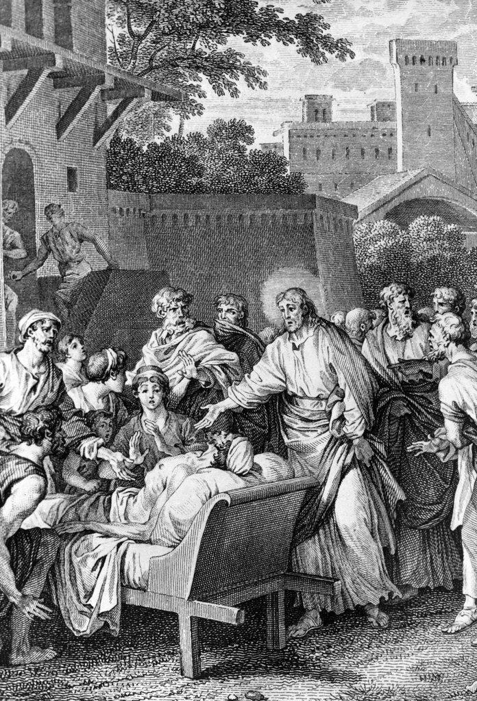 Jesus Heals the Paralytic by Jean-Michel le Jeune Moreau, print, 1741-1814 : Stock Photo