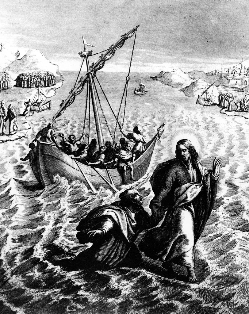 Jesus Walks on the Water by Adolphe Rouargue, print : Stock Photo