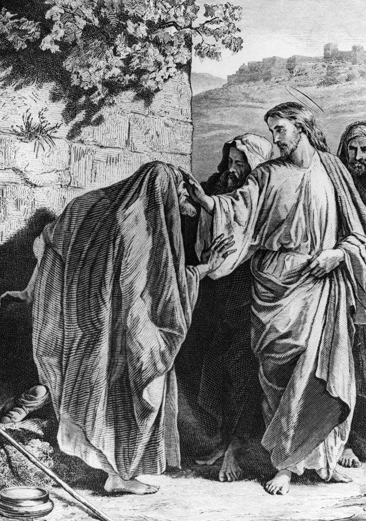 Stock Photo: 990-3534 Healing of the Leper by Alexandre Bida, print, 1823-1895