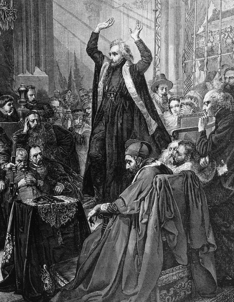 Stock Photo: 990-3570 Skarga Preaching Before Sigismund II, King of Poland 1543-1572, in the Cathedral of Cracow, print
