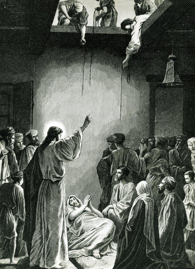 Jesus Heals a Paralyzed Man, Alexandre Bida, 1823-1895/French, print : Stock Photo