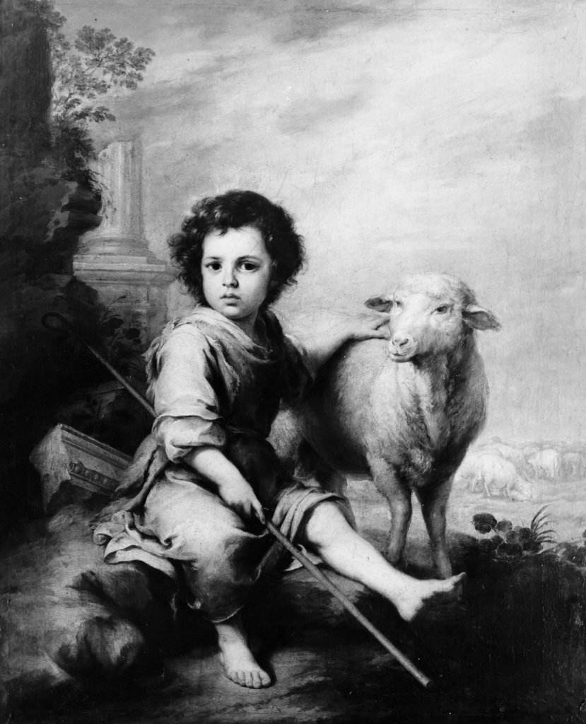 Stock Photo: 990-4022 The Christ Child as Shepherd by Bartolome Esteban Murillo Attrib., 1617-1682