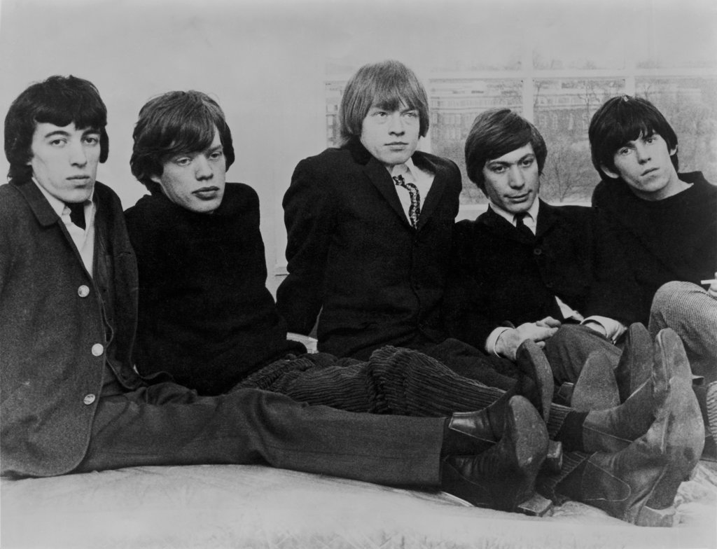 The Rolling Stones, (L-R) Bill Wyman, Mick Jagger, Brian Jones, Charlie Watts, Keith Richards : Stock Photo