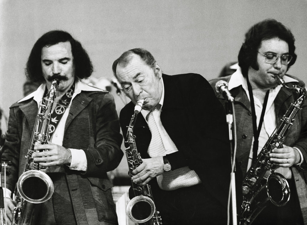 Woody Herman with Frank Tiberi and Salvatore Spicola : Stock Photo