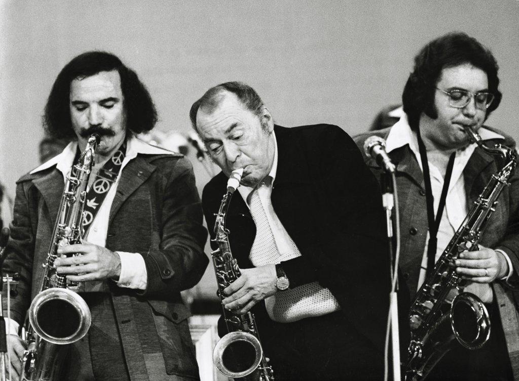 Woody Herman with Frank Tiberi and Salvatore Spicola : Stock Photo