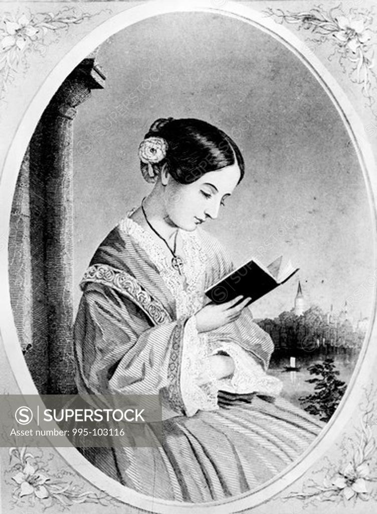Stock Photo: 995-103116 Portrait of Florence Nightingale by Juan Buckingham Wandesforde, (1817-1902)