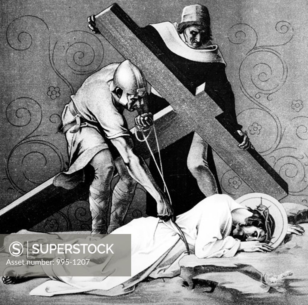 Stock Photo: 995-1207 Jesus Falls the Third Time (9th station of the Cross) by Martin Ritter von Feuerstein, oil painting, circa 1898, 1856 - 1931, Germany, Munich, Saint Anna Church