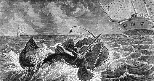 Sea Monsters by unknown artist, print : Stock Photo