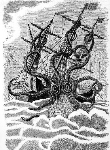 Stock Photo: 995-10288 Repulsive Giant Squid by unknown artist, print