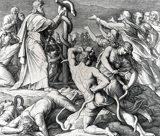 Stock Photo: 995-102997 Moses Heals Afflicted Israelites with Brazen Serpent by Julius Schnorr von Carolsfeld, illustration, (1794-1872)