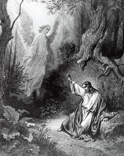 Stock Photo: 995-103092 Christ at Mount of Olives by Gustave Dore, engraving, (1832-1883)