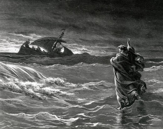 Stock Photo: 995-103094 Christ Stilling Tempest, Gustave Dore (1832-1883 French), engraving, (1832-1883)